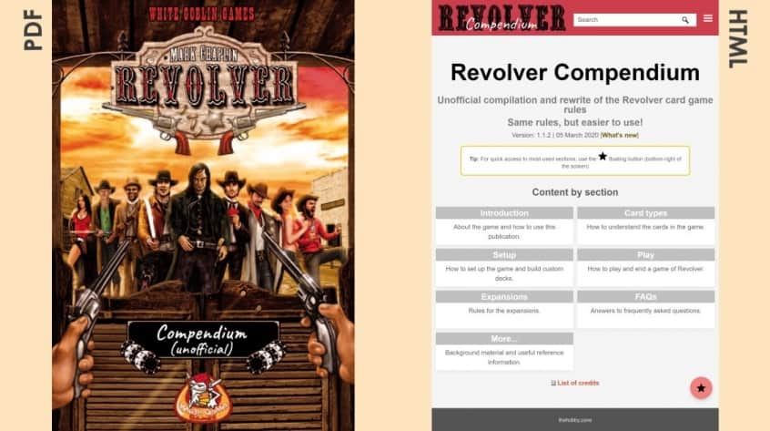 Revolver Compendium PDF cover and HTML homepage